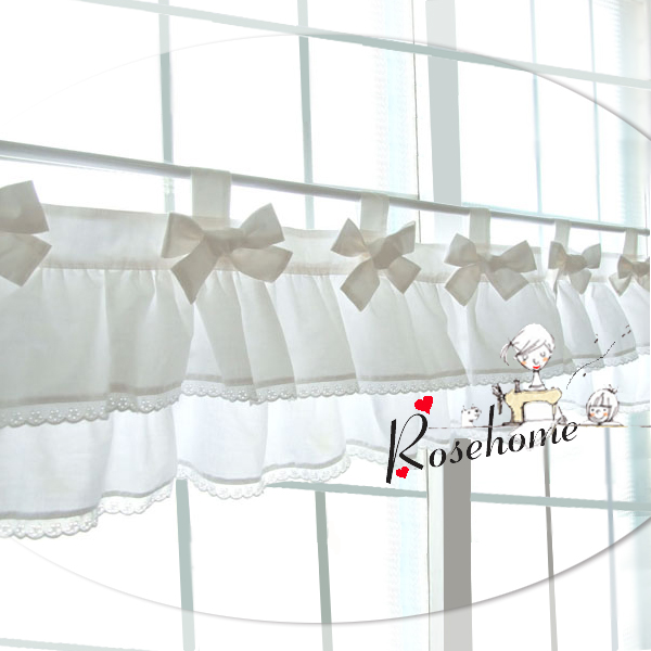 bowknot blanc cuisine rideau tissu dentelle de coton café rideau ...