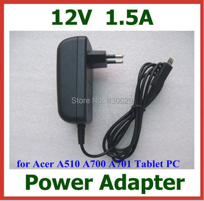 50pcs DHL 12V 1.5A 18W Charger Power Supply Adapter for Acer Iconia Tab A510 A700 A701 tablet pc(China (Mainland))