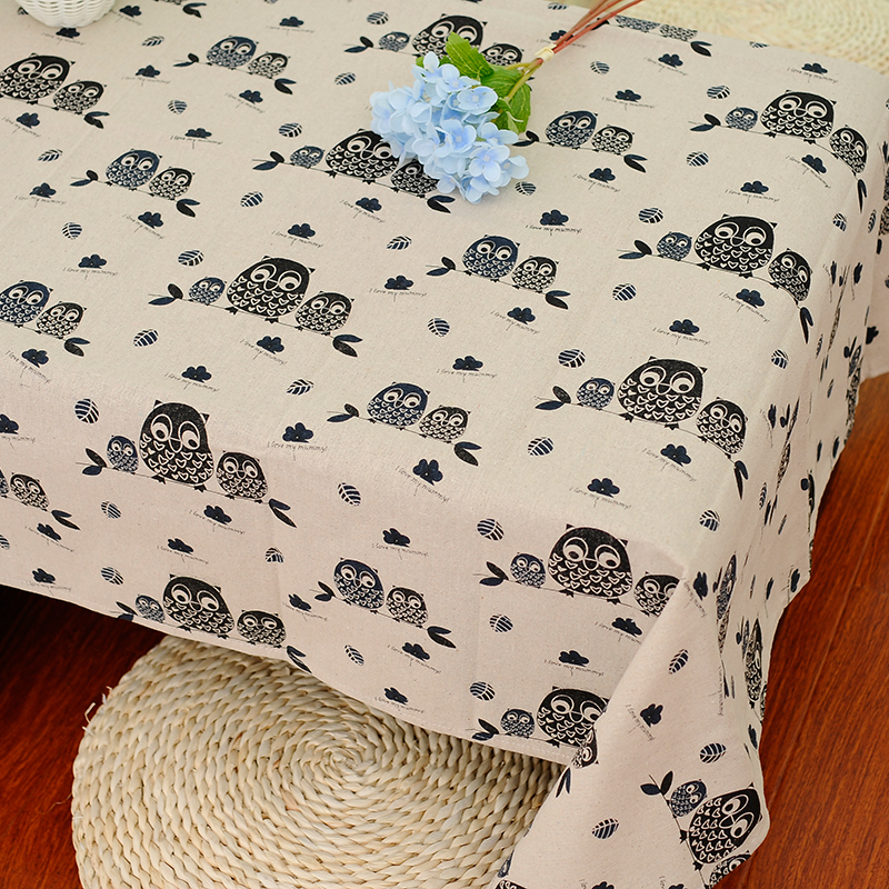 Cute Black Owl pattern Table Cloth Cartoon Cotton Linen Coffee Tablecloth Manteles Para Mesa Dustproof Decorative Table Cover(China (Mainland))