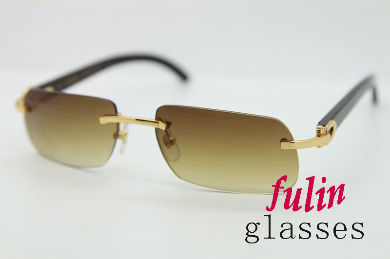 Black Buffalo Horn Arm Glasses For Men Sunglasses Luxury Brand Size 55-18-140mm