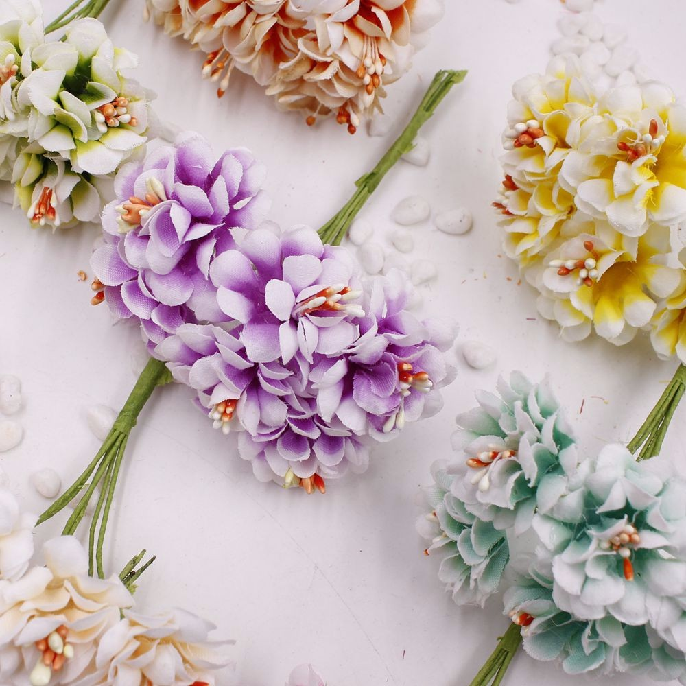 6 pcs Stamen Artificial Flower Silk Handmade Gradient Artificial Flowers Bouquet Wedding Decoration DIY Garland Scrapbooking Gif