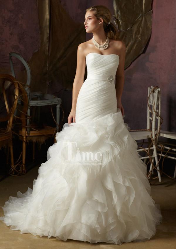 Unique mermaid sweetheart beaded belt puffy skirt wedding dresses 2014 new style white/ivory/Champagne princess WD004968(China (Mainland))