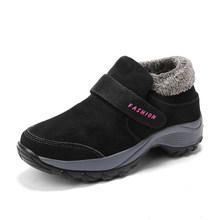 STQ 2020 Winter Frauen Schnee Stiefel Für Frauen Schuhe Warme Plattform Schwarz Stiefeletten Weibliche Hohe Keil Wasserdicht Wandern Stiefel 1851(China)