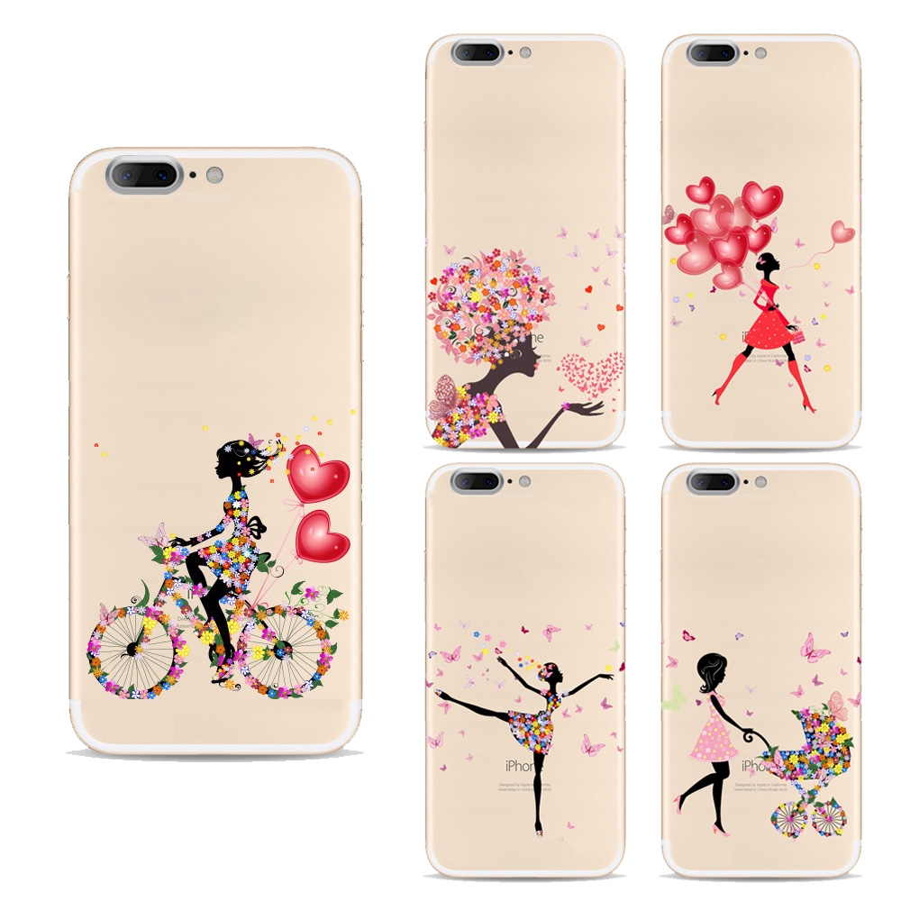 Mobile phone cases For Apple Iphone 7 case Silicon Cute lovely Girl Design painted Cases for iphone 7 back cover(China (Mainland))