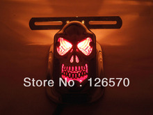 FREE SHIPPING Skull Skeleton Rear Tail Light Mount Plate for Yamaha V-star XV Midnight Star Road Star Raider S Chopper Custom(China (Mainland))