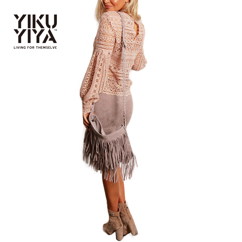 YIKUYIYA Women Blouse Spring Brush Pink Lace Back Puff Sleeve Bright Blouse Hollow Out Sexy O Neck Crochet Tops Casual Blouse(China (Mainland))