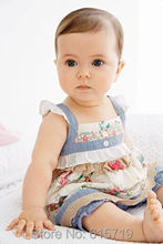 2015 summer style baby dress girl flowers pattern patchwork sleeveless blouse dress + shorts baby baby clothing free shipping(China (Mainland))