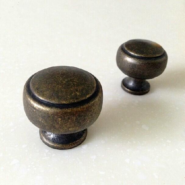 30mm vintage distress furniture knobs antique brass drawer for Furniture handles