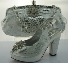 Beautiful African shoes and bags set for evening ilver shoes and matching bags with rhinestones ME2203(China (Mainland))