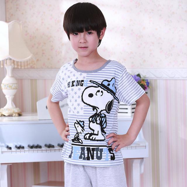 Новый летний мальчик пижамы хлопка мягкой качества дети мальчики пижамы одежда установить ...