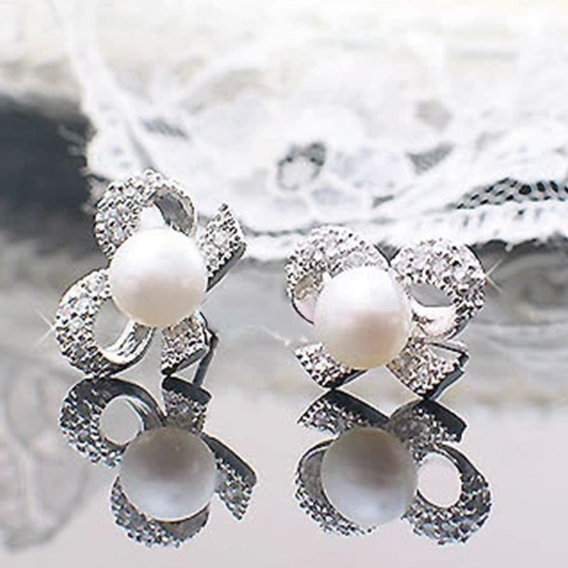 Fashion Full Rhinestone White Butterfly Bow Pearl Stud Earrings for Women Jewelry(China (Mainland))