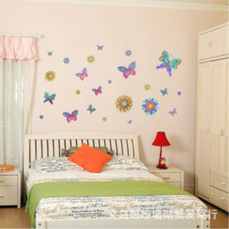 Korea cartoon stickers room bedroom wall stickers combination of fashion Butterfly Dream XY8067(China (Mainland))