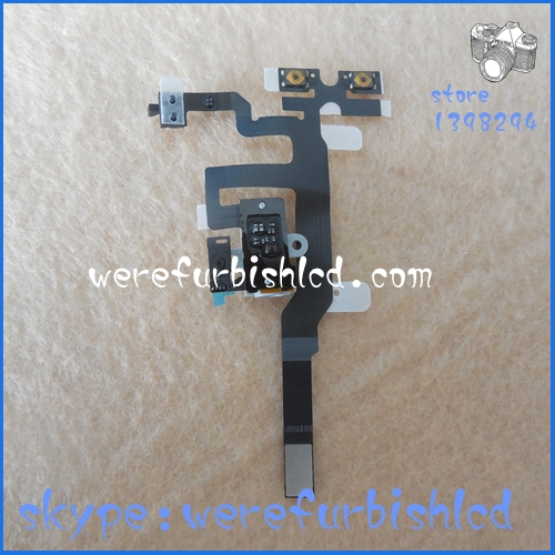 High Quality white Audio Jack Headphone Volume Flex Cable for iPhone 4s Replacement Free shipping(China (Mainland))