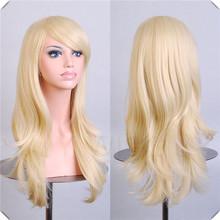 Long Bangs Blonde Wavy Cosplay Wig Synthetic Hatsune Miku Golden Coslay Hair/Wigs Long Bangs Blonde Wavy Cosplay Wig(China (Mainland))