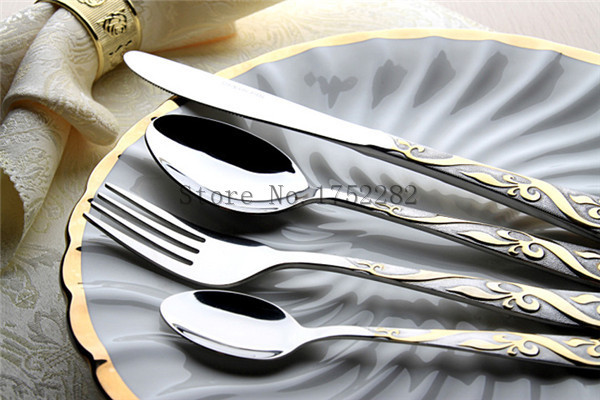 Hot sale 4pcs gold dinner knives stainless steel cutlery set dinner set fork and spoon flower pattern chinese dinnerware set(China (Mainland))