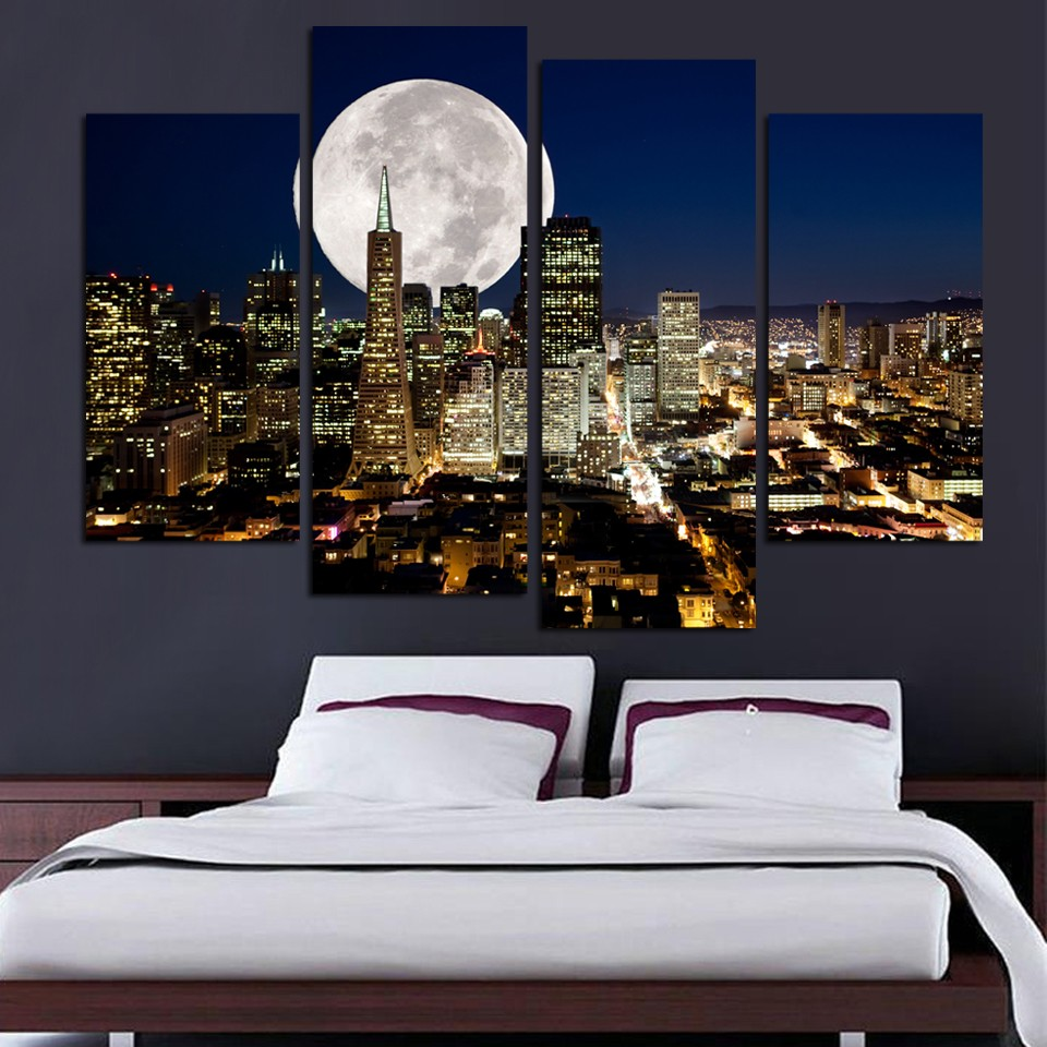 Fashion HD Great Canvas painting 4 Panels Home Decor New York city night view Artwork Prints(China (Mainland))