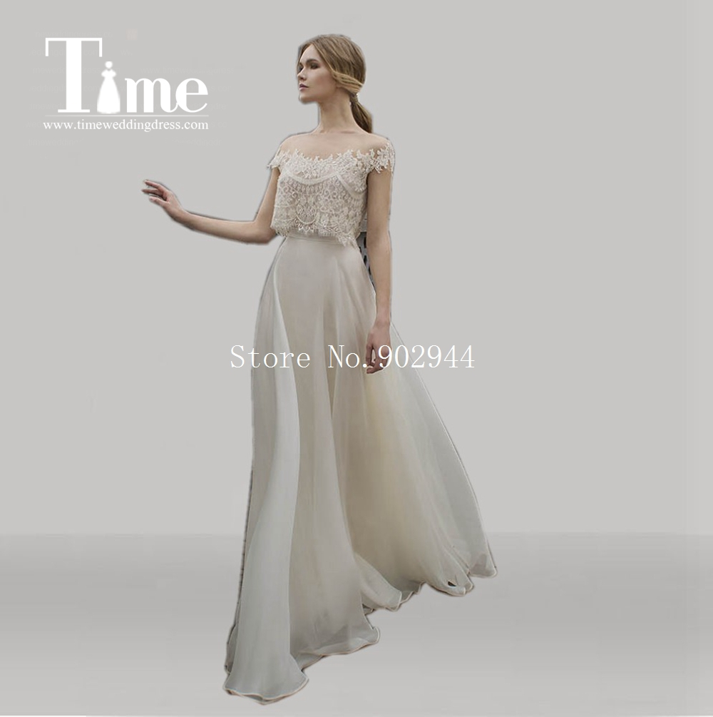 Sheer iluion neck lace bodice beach wedding dresses 2015 for Sheer bodice wedding dress