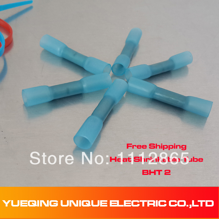 Free Shipping BHT2 Blue Heat Shrink Butt Connectors and Splices For 1.5-2.5mm2 , 16-14 AWG Wires<br><br>Aliexpress