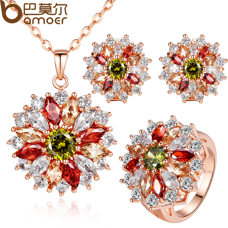 BAMOER 18K Gold Plated Wedding Jewelry Sets with AAA Multicolor Cubic Zircon for Women High Quality Bridal Jewelry(China (Mainland))