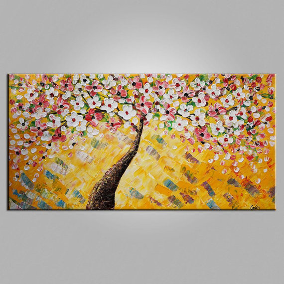 Buy LARGE SIZE Palette Knife Abstract Flower Tree Oil Painting  Living Room Wall Art Contemporary Abstract Canvas Home Decor Art cheap