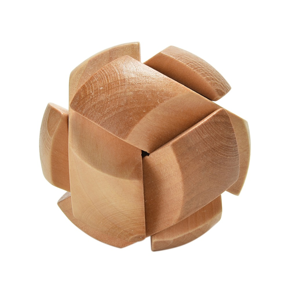 Puzzle Brain Training Toy Football Shape Wooden Puzzle Kong Ming/Luban Lock for Adult Children Cube/Educational Toy(China (Mainland))