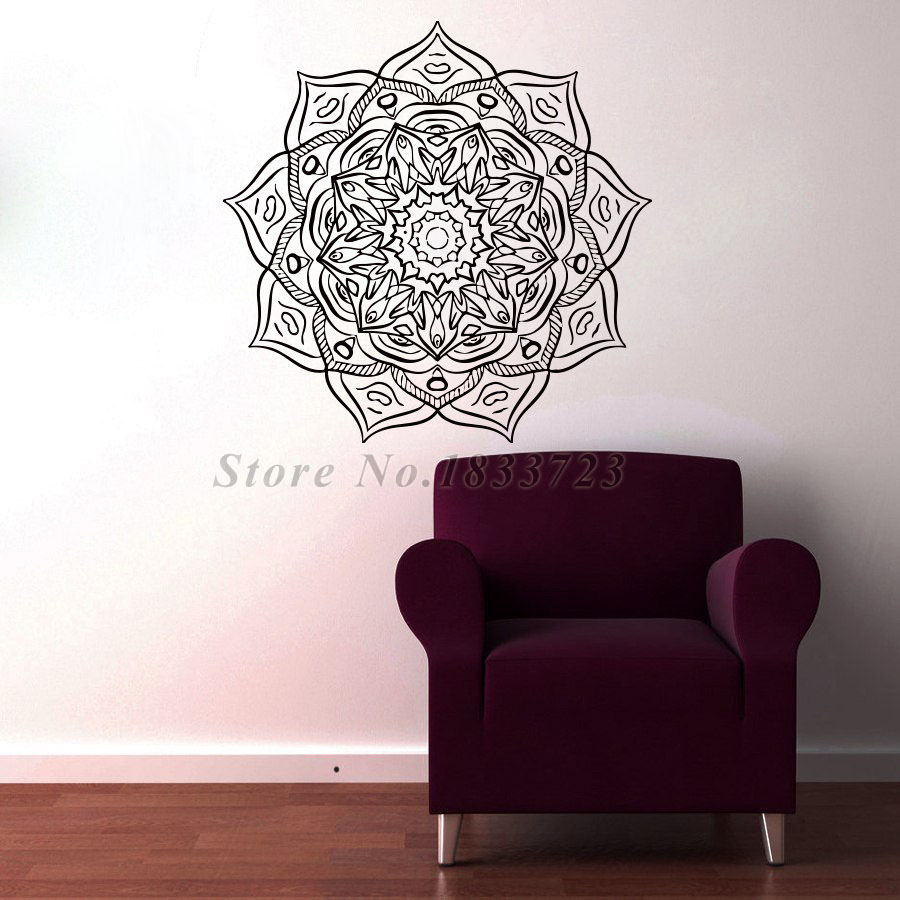 Mandalas Flower Wall Stickers Home Decor Indian Religious Pattern Art Wall Decor Vinyl Decal Sticker