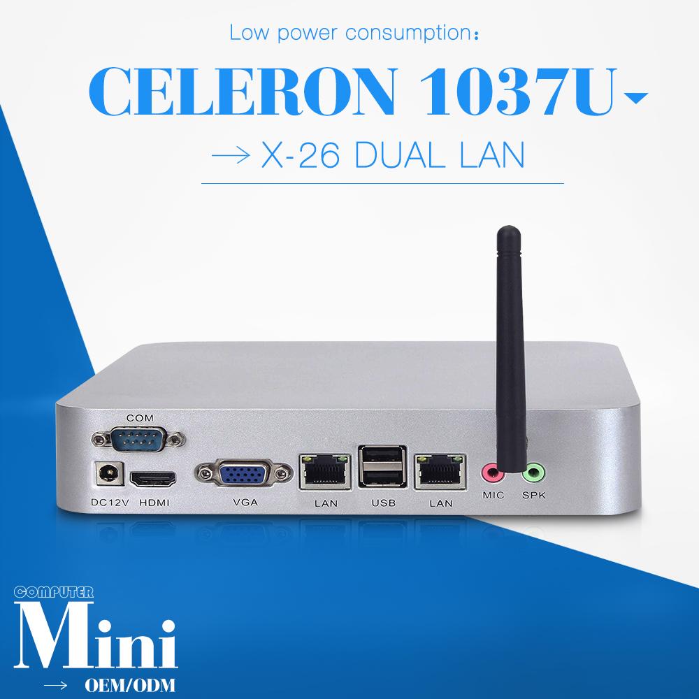 Barebone pc celeron C1037U 2 lan Fan Industrial Mini PC hdmi Mini computer can run Linux/Ubuntu/window 7 thin client(China (Mainland))