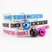 """1 pcs Adjustable Cute Leather Dog Cat Collars with bell,Sweet Heart Puppy Teddy Collars Fit Neck 7.6-9.6"""",Pet Product(China (Mainland))"""