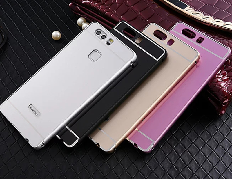 New For Huawei P9 Lite/P9 Case,Alumium Metal Frame And PC Back Cover Luxury Hard Case For Huawei Ascend P9 Plus Shell Gold(China (Mainland))