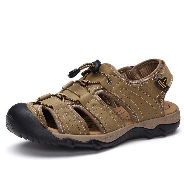 Новый Мужчины Сандалии Из Натуральной Кожи Сандалии Мужчины Летом Стиль Обувь Дышащая ...