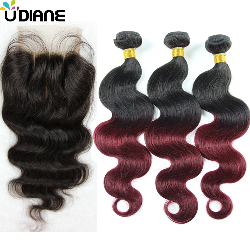 Ombre Hair With Closure 3PCS 1B/Burgundy Brazilian Virgin Body Wave With 1PCS Middle Part,Free Part or 3 Part Closure 4BC01LC<br><br>Aliexpress