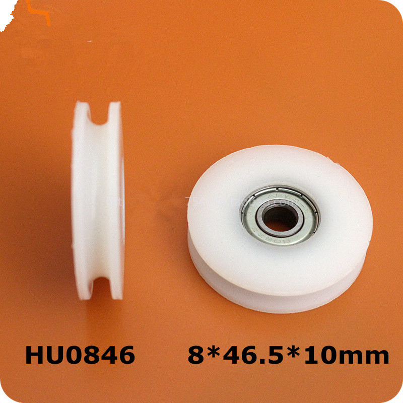 5x deep Groove Nylon Pulley Wheels Roller for Slide Gate/angle Bar/drawers,8*46.5*10mm(China (Mainland))