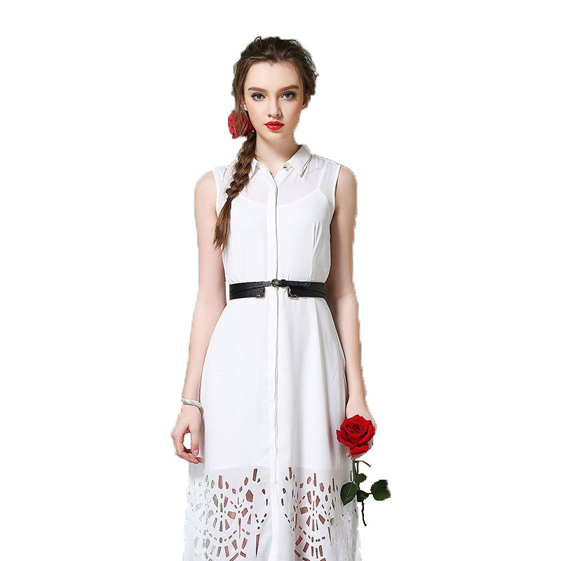 2016New Style Summer Women Lace Dress Plus Size Women Clothing Dress Simple Sleeveless Bodycon Dress Lapel Hollow Sexy Female Одежда и ак�е��уары<br><br><br>Aliexpress