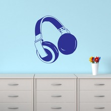 Free Shipping Headphones Wall Sticker Music Art Bedroom Vinyl Decal Kids Room Decoration KW-41