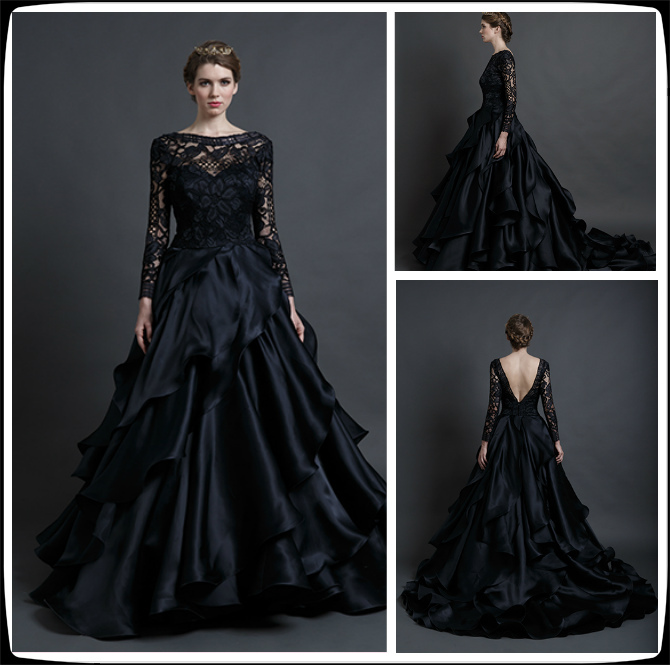 Ball gown wedding dresses with black for Black long sleeve wedding dresses