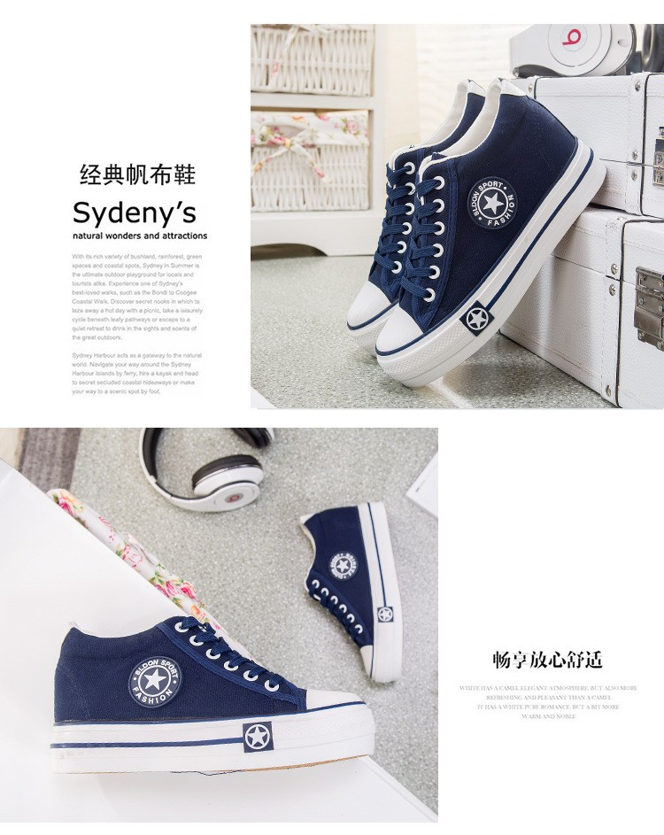 Women Casual Shoes Wedges Canvas Shoes Woman Trainers Tenis Shoes Walking stars Basket Femme Thick Heels Size 35-40
