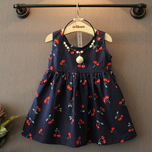 2016 Baby Girl Fashion Summer Kids Dresses Casual Sleeveless Cotton Cherry Flowers Girl Dresses Cute Child Princess Dress