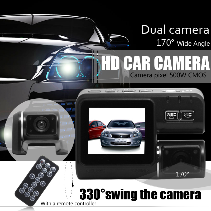 Dual Lens Car Camera i1000 Car DVR Dual Camera HD 1080P Dash Cam Black Box With Rear 2 Cam Vehicle View Car Recorder(China (Mainland))