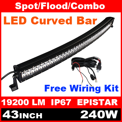 "43"" Inch 240W Epistar Curved LED Light Bar + Wiring Kit for Indicators Work Driving Offroad Boat Car Truck 4x4 SUV ATV Fog(China (Mainland))"