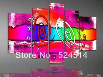 hand-painted oil wall art fashion Colorful graffiti home decoration abstract Landscape oil painting on canvas 5pcs/set