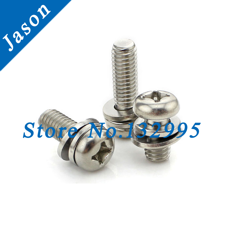 M4*40  Stainless Steel A2 Three Combine Screw Three sem screws with washer attached SUS 304 triad screw M4*L<br><br>Aliexpress