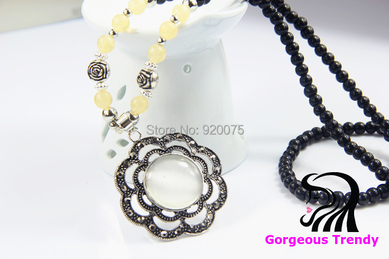 Special Price Fashion Match Big Flower Gem Pendant Opal Black Beads Alloy Necklace Long Chain Sweater Women Jewelry - Gorgeous Trendy store