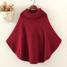 Fall Winter Women Turtleneck Poncho Sweater Korean Fashion Plus Size Loose Batwing Sweater Ladies Knitted Ponchos Capes Coat(China (Mainland))