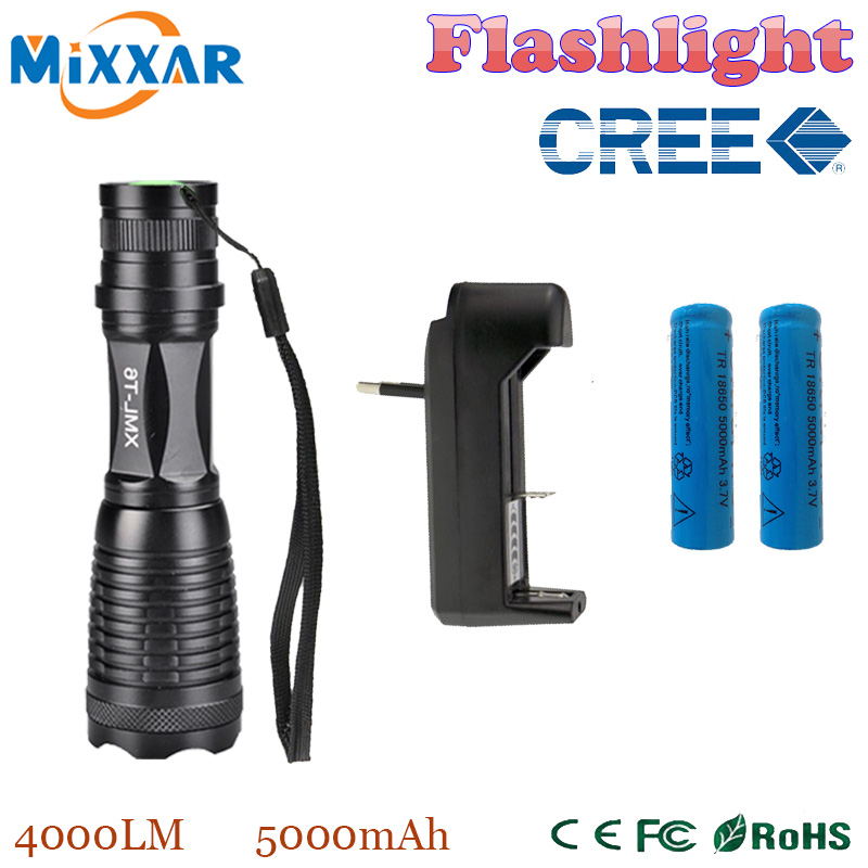 zk13 4000LM xml-t6 high power led torch E6 lantern zoomable flashlight + 2*18650 5000mAh Battery + Charger(China (Mainland))