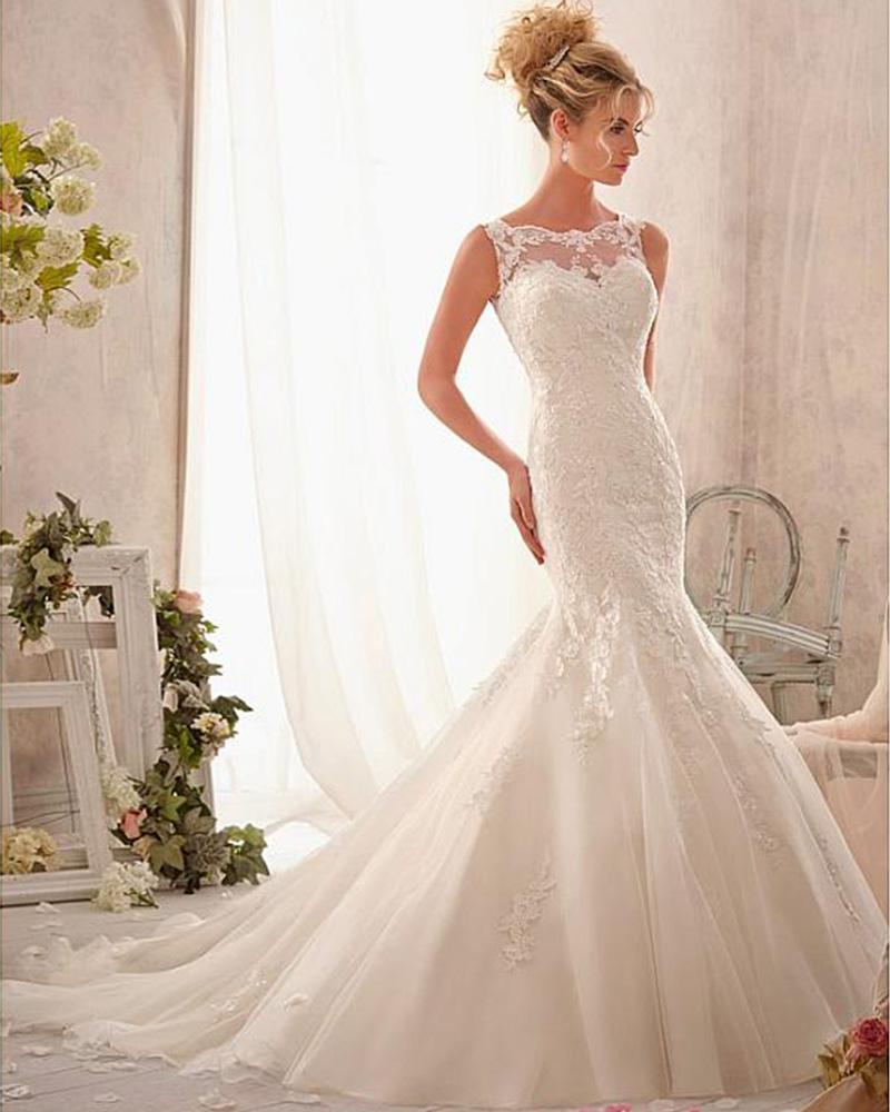 Свадебное платье рыбка кружевное
