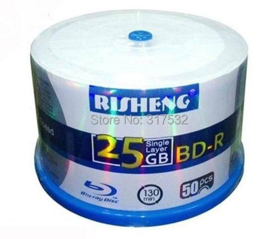 free shipping blue ray Disc full surface Printable Blue-ray BD-R 25GB 8x 50pack speed Blank disc(China (Mainland))