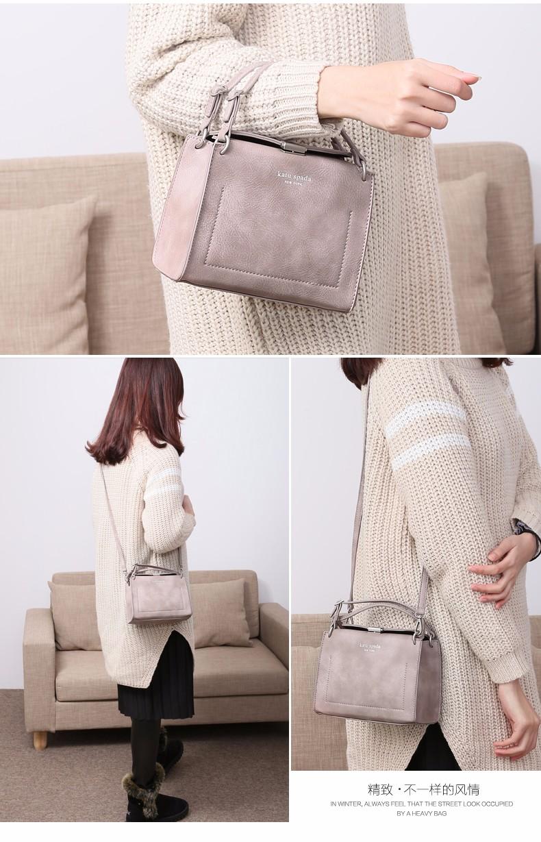 Vintage Box-type Square Shoulder Bag Women Chic Lock Japan Style Simple Plain Bag Ladies Designer Hand-held Crossbody Bag