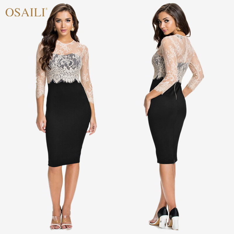 New Vestidos Women Spring Summer Dress 2015 O-Neck Woman dress Vestido de festa Fashion Casual Black White OL Lace Dress(China (Mainland))
