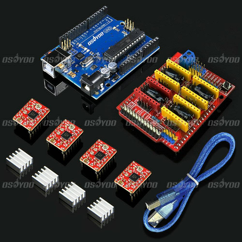 CNC Shield Expansion Board for Arduino 3D Printer + 4 x A4988 Stepper Motor Driver with Heat Sink + UNO R3 Board