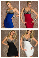 2015 New Vestidos De Festa Women Speghetti Strap Sexy Spike Studded Bra Top Bodycon Dress Mini Sexy Party Dresses Vestidos 9001